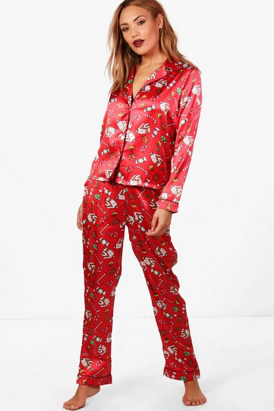 Vivian Christmas Contrast Piping Trouser Set