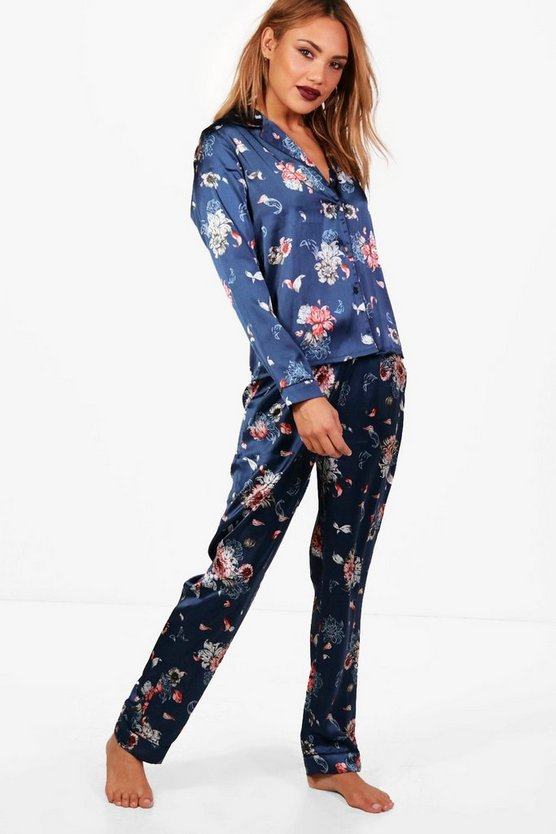 Stella Floral Print Satin Contrast Piping Trouser Set