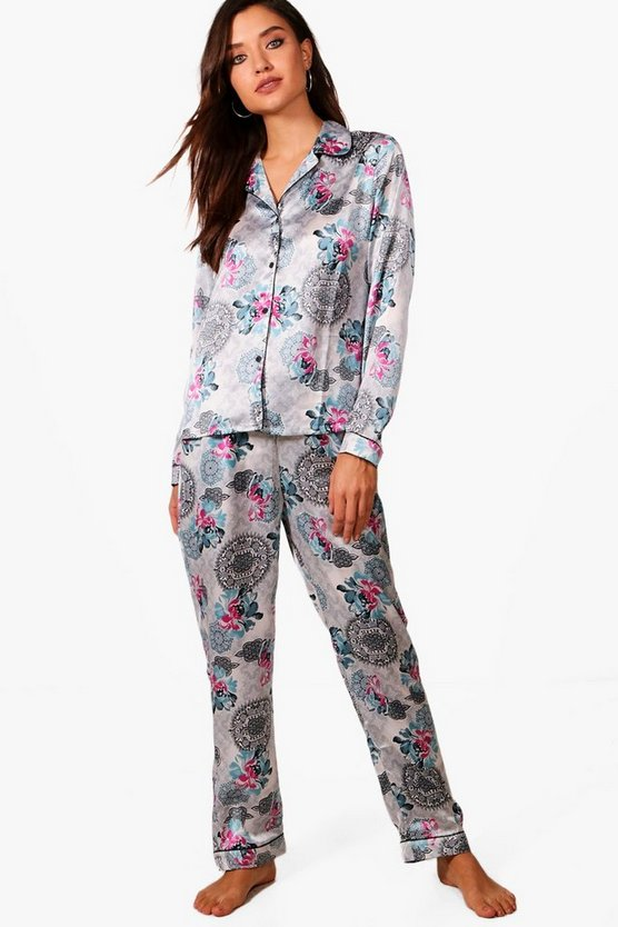 Isla Floral Contrast Piping Button Down Trouser Set