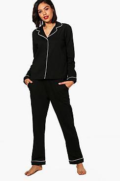jersey contrast piping shirt & trouser set