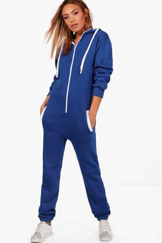 Bella Contrast Pocket & Tie Zip Up Onesie