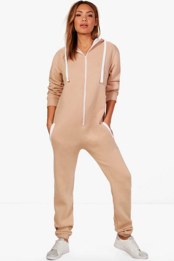 Serena Contrast Pocket & Tie Zip Up Onesie