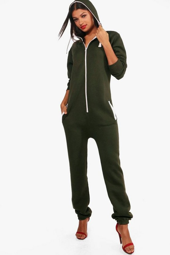 Lydia Contrast Pocket & Tie Zip Up Onesie