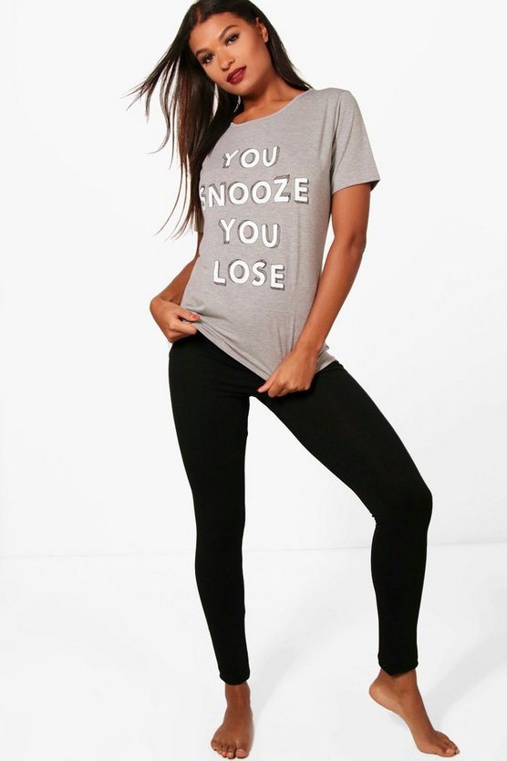 Ensemble de pyjama legging et T-shirt 'You Snooze You Lose'  Holly '