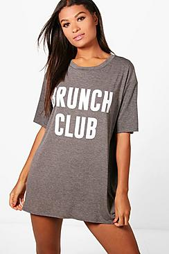 Poppy Brunch Club Nachthemd mit Slogan - Boohoo.com