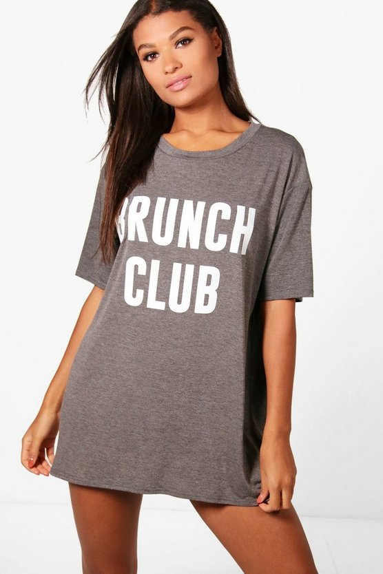Poppy Brunch Club Slogan Night Dress