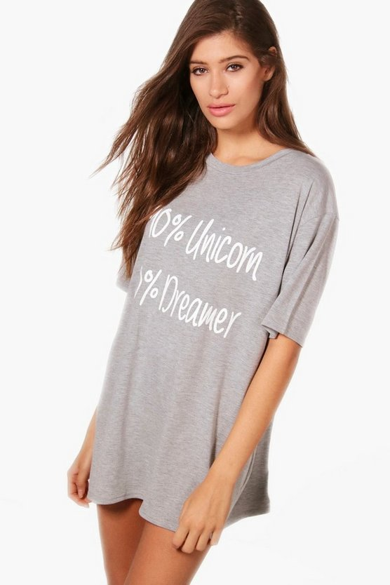 Ava 90% Unicorn 10% Dreams Slogan Nightdress