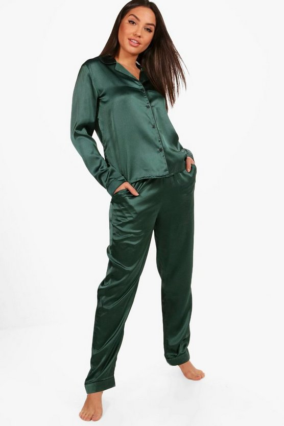 Zoe Satin Contrast Shirt And Trousers
