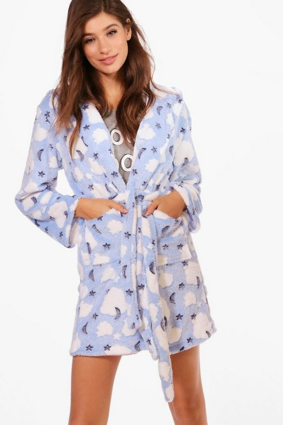 Layla Moon & Star Print Hooded Robe