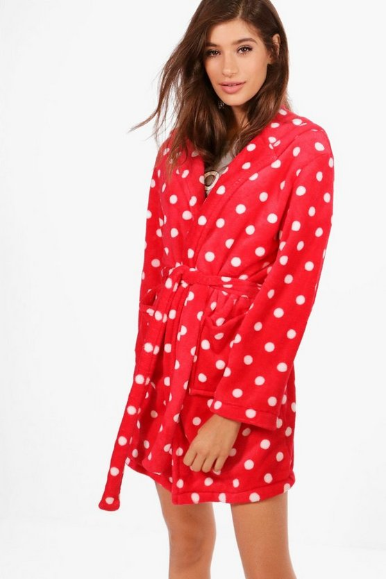 Polka Dot Hooded Robe