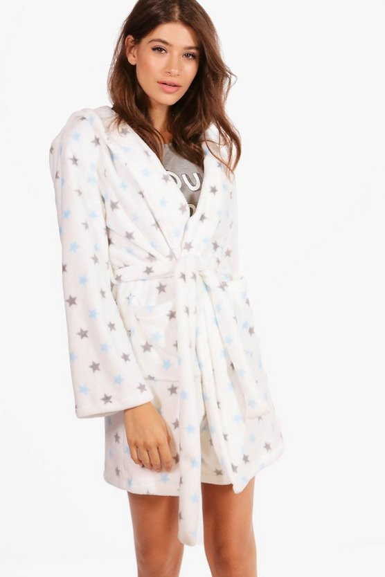 Anna Star Printed Hooded Robe
