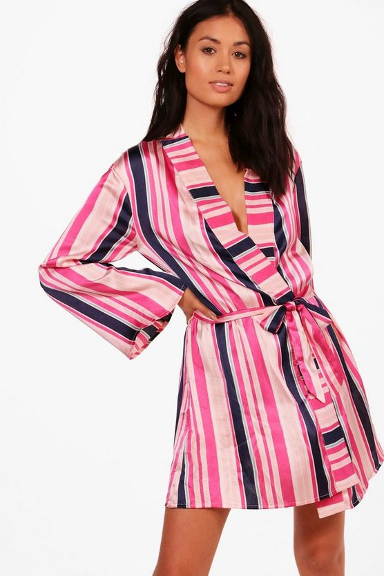 Lucy Striped Satin Robe
