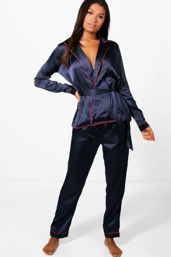 Ella Satin Robe Front Shirt + Trouser Set