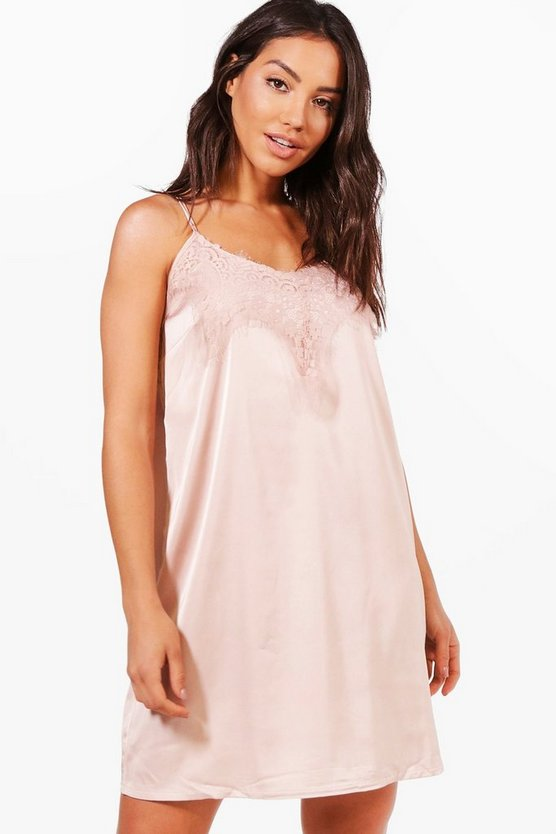Lauren Satin Lace Night Slip
