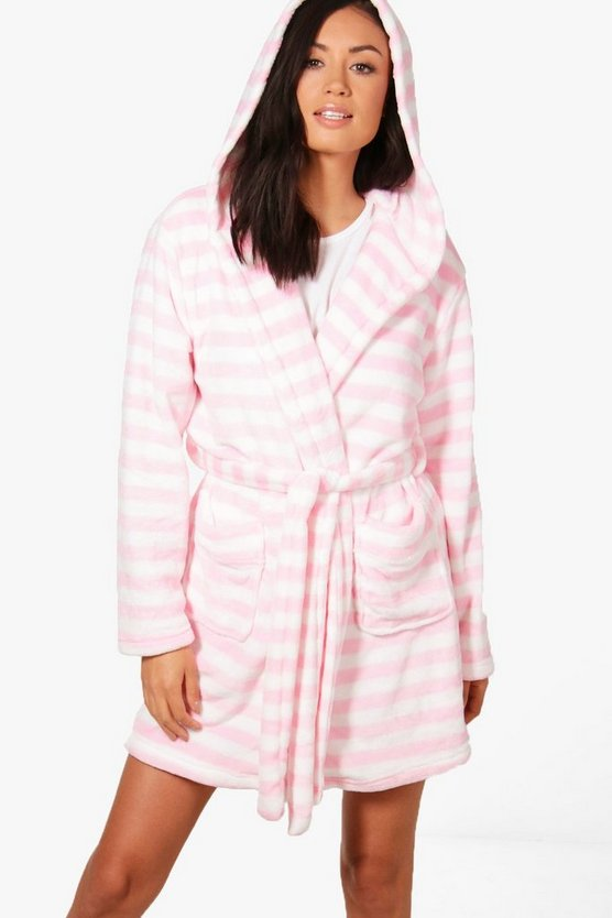 Violet Stripe Hooded Robe