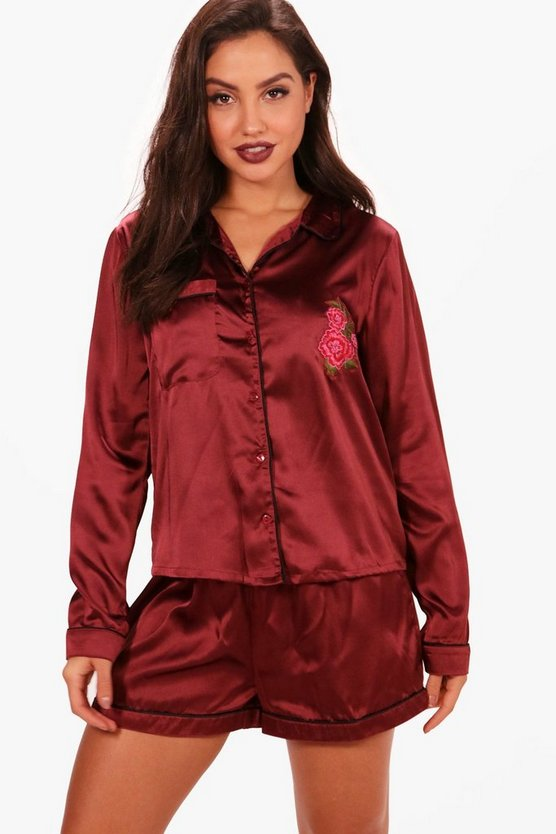 Emma Rose Embroidery Satin Short & Shirt Set