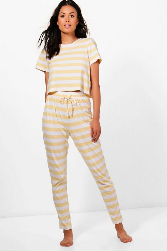 Phillipa Stripe Tee + Trouser PJ Set