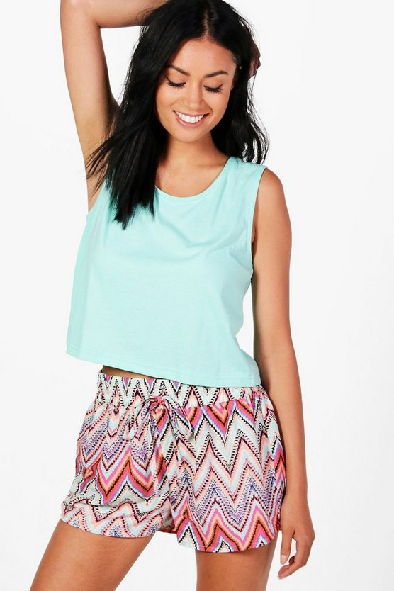 Harriet Multi Chevron Short + Vest PJ Set