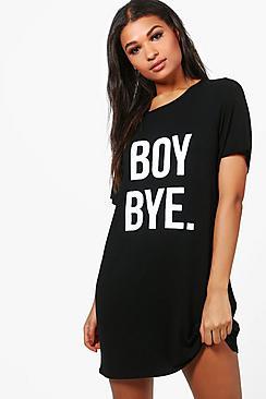 """Georgia Nachthemd mit """"Boy Bye""""-Motiv - Boohoo.com"""