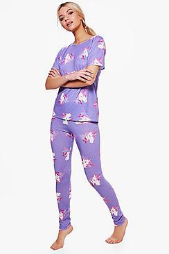 alice set pigiama con maglietta e legging con unicorni