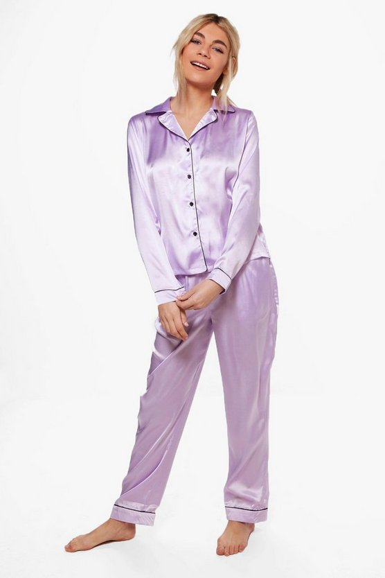 Satin PJ With Contrast Piping
