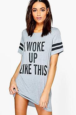 'i woke up like this' sleep tee