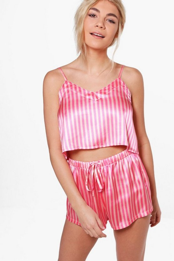 Zoe Candy Stripe Crop And Short Set