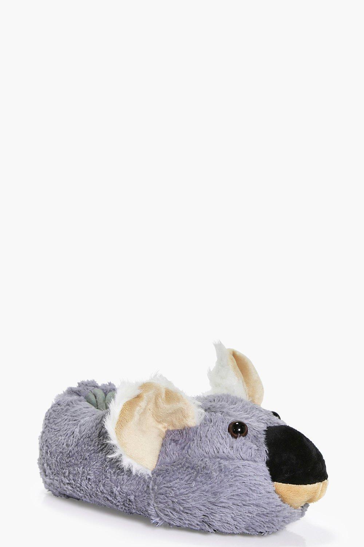 Cuddly Koala Fleece Novelty Slippers  grey