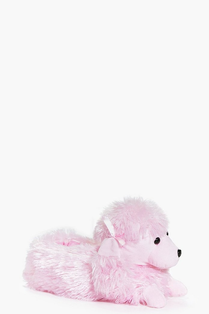 Alice Pink Poodle Fleece Novelty Slippers