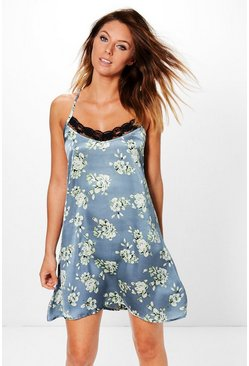 Mya Satin Floral Strap Back Night Dress