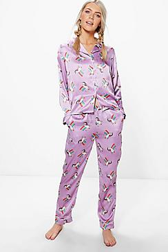 Lily Unicorn Satin PJ Shirt And Trouser Set