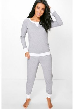 Ivy Contrast Hem And Cuff Long Sleeve PJ Set