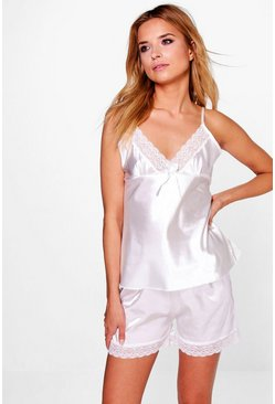 Evie Lace Contrast Satin Cami Short PJ Set
