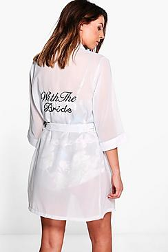 Eva Bride Slogan Sheer Embroidered Night Robe