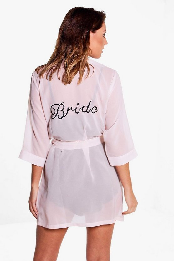 Charlotte Sheer Embroidered Bride Robe