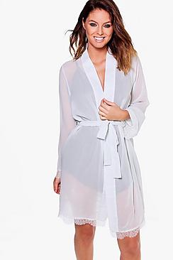Lucy Bridal Sheer Lace Sleeve Kimono Robe