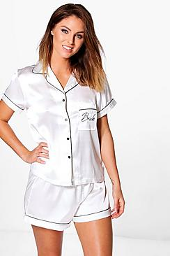 Lola Bride Embroidered Night Shirt And Short Set