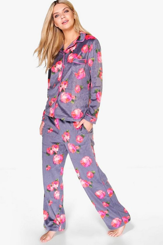 Zoe Rose Print Fleece PJ Shirt And Trouser Set