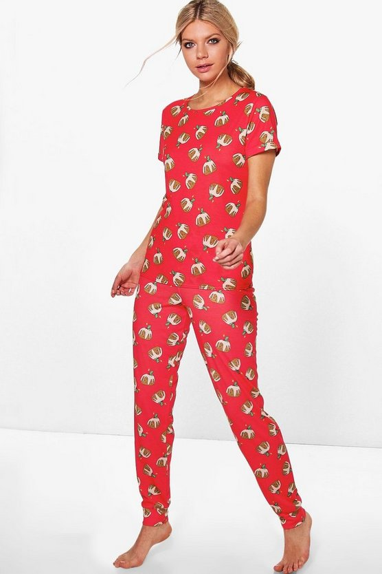 Eva Christmas Pudding Tee And Jogger PJ Set
