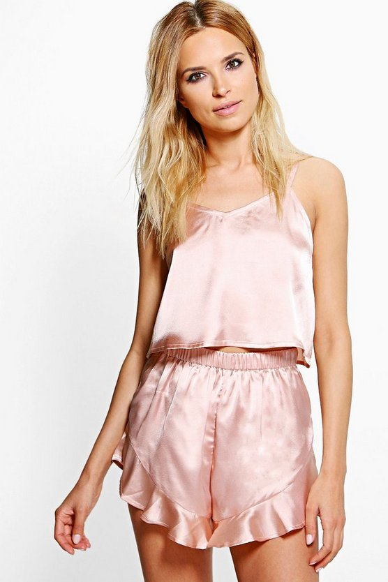 Alice Satin Strap Detail Vest + Short Set