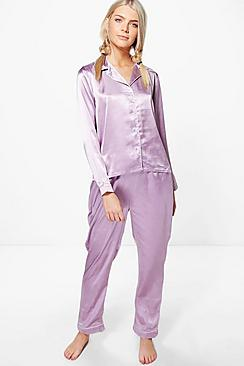 Millie Satin Shirt And Trouser Night Set