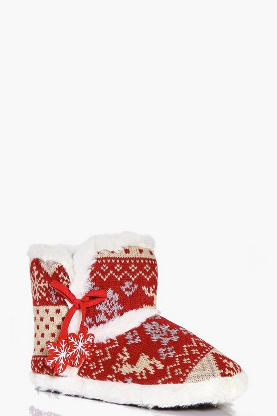 Mollie Fairisle Print Soft Slipper Boots