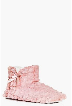 Lara Fleece Bow Detail Soft Slipper Boots