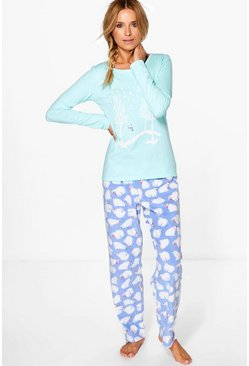Millie Winter Theme Glitter Print Long Sleeve PJ Set