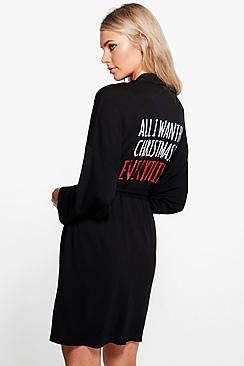 Annie Christmas All I Want Slogan Tie Waist Robe