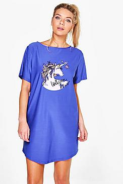 Alicia Slash Neck Unicorn Print Night Dress