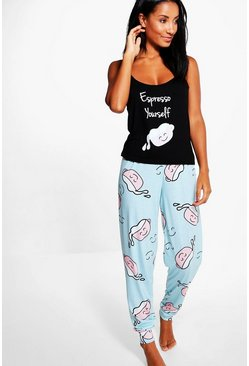 Eve Coffee Print Slogan Skinny Jogger And Vest PJ Set