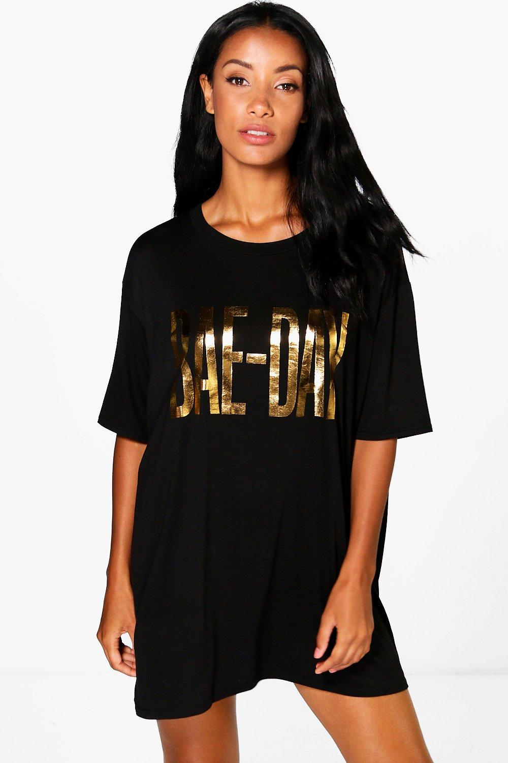 Natasha Oversized Foil Print Slogan Night Dress