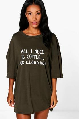 Lillie Coffee Slogan Oversize Nightie
