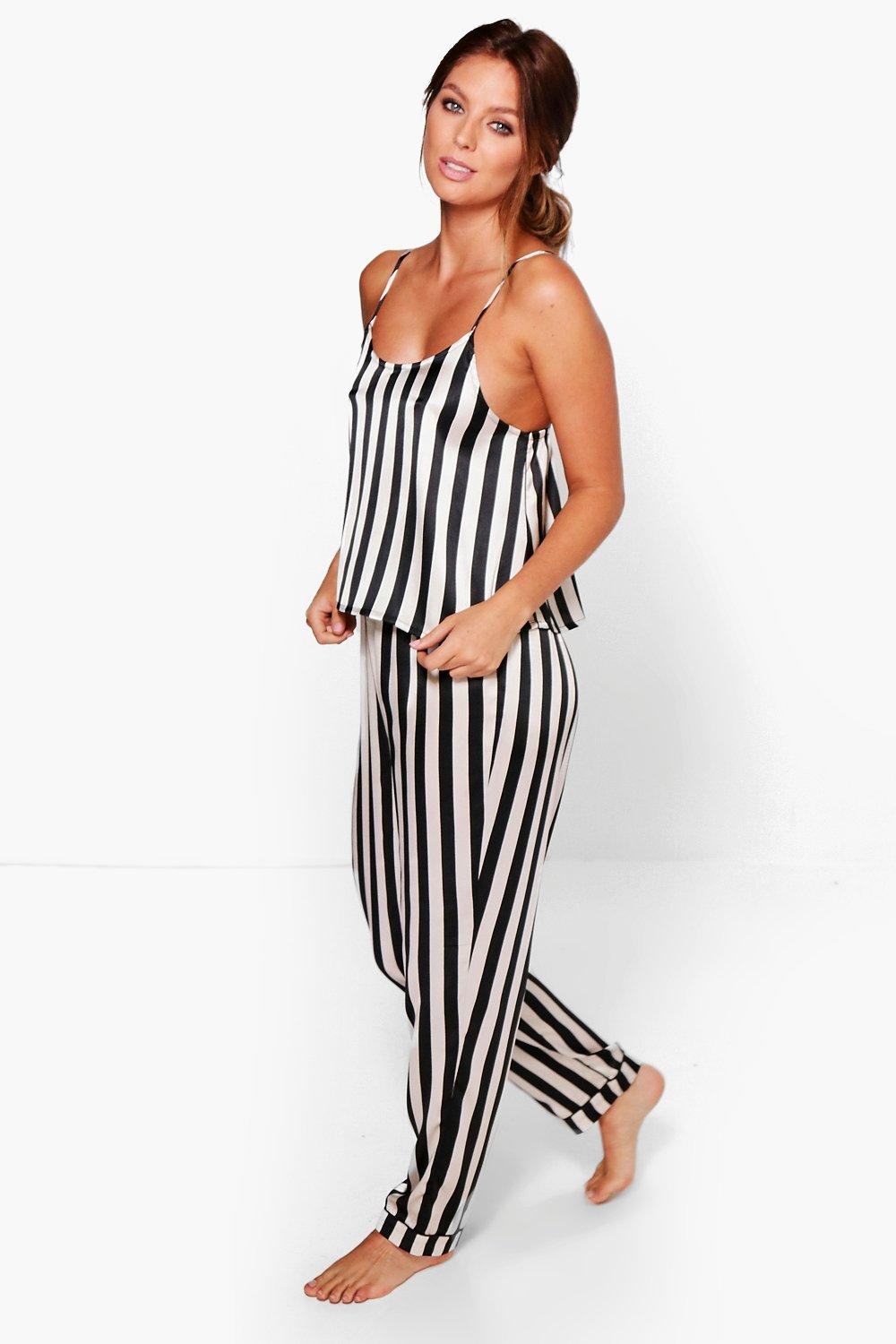 Tilly Satin Large Stripe Vest And Trouser Set